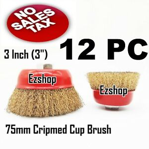 12 Pc 3 X 5 8 Arbor Fine Crimped Wire Cup Wheel Brush For Angle Grinders