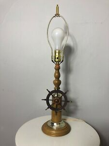 Vintage Wooden Boat Ship Steering Wheel Table Lamp Nautical Decor
