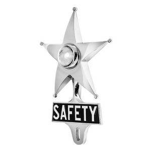 Safety Star License Plate Topper Chrome W Mini Moon Dual Function White Led