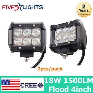 2x 4inch 18w Cree Led Work Light Bar 4wd Offroad Flood Fog Truck Driving Lamp