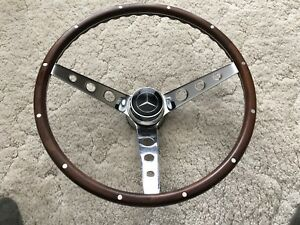 15 Classic Mercedes Benz Wood Steering Wheel Functional Horn Button Beautiful