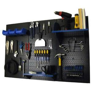 Wall Mount Peg Board Workbench Tool Organizer 1 4 Inch Hooks Shelves Black Blue
