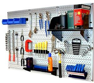 Wall Mount Peg Board Workbench Tool Organizer Accepts 1 4 Inch Hooks And Shelves