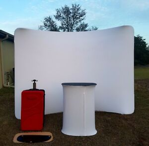 10 Ft Tension Fabric Trade Show Display Waveline Booth Backdrop Wall Stand Desk