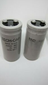 2 X Tech Cap 10000 Mfd 75v Large Can Electrolytic Aluminum Capacitor Dc 75vdc