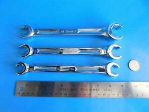 Used Snap On Tools 5 8x11 16 3 4x13 16 3 4x 1 Inch Line Wrenchs Lot Of 3