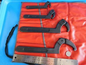 New Blue Point Adjustable hook Spanner Set Wrenchs Lot Of 4