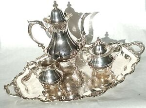 Vintage Wallace Rose Point 1200 Silver Plate 4 Piece Coffee Tea Set
