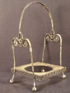 Lg 1800s Vitorian Silver Bride Basket Bottle Holder Center Pc Bowl Dish Repousse