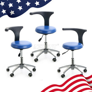 3pcs Dentist Doctor Assistant Stool Adjustable Mobile Chair Pu Hard Leather Blue