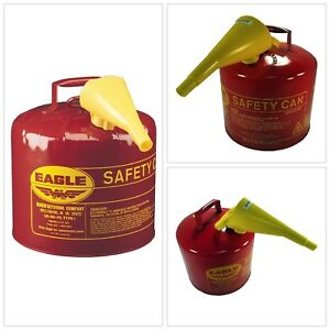 Gas Cans Red Galvanized Steel Outdoors Gasoline Safety Funnel 5 Gal Capacity New
