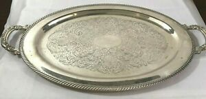Vintage Wm A Rogers Large Silverplate Victorian Style Platter Gorgeous