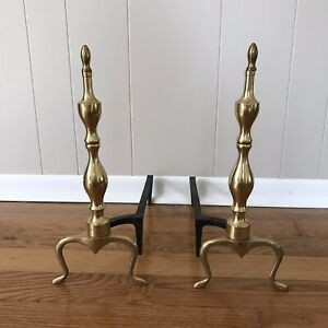 Vtg Antique Solid Brass Iron Thin Fireplace Andirons Fire Dogs Made In Japan
