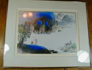 Contemporary Korean Watercolor Of Traditional Landscape In Blue