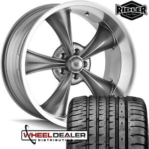 4 17x7 Gray Ridler 695 Wheels Rims Tires For 5 Lug Ford Mustang 1965 1966