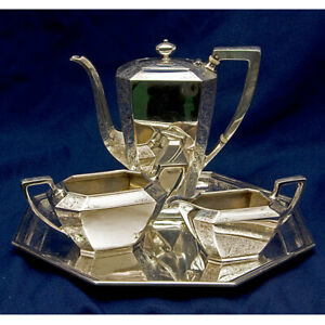Beautiful Antique 4 Piece Sterling Silver Tea Set W Matching Tray Over