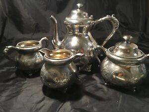 Lot Of 4 Barbour Quadruple Silver Ornate Flower Tea Set 2413