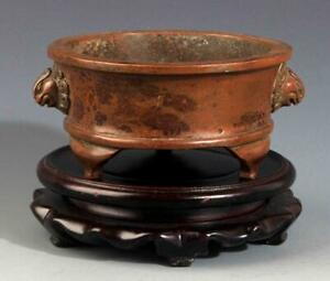 Chinese Double Foo Lions Ear Bronze Censer Ming Dynasty