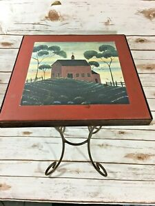 Vintage Wrought Iron Side Table Tile Top Mid Century Farmhouse Scene Plant Stand