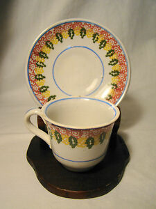 Staffordshire Spatterware Four Color Stick Spatter Demitasse Cup