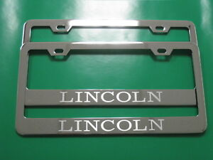 2 Brand New Lincoln Stainless Steel Chrome License Plate Frame W S Caps Sb