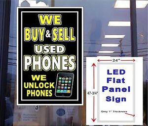 We Buy Sell Used Phones Unlock Phones 48x24 Flat Panel Led Illuminated Sign