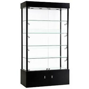 Rectangular Tower Display Showcase Assembled Led Lighted Store Fixture Black New