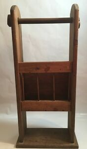 Vintage Wood Magazine Rack Paper Towel Holder Country Shabby Handmade Pr