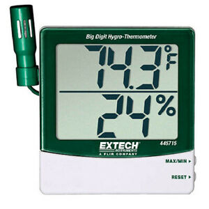 Extech 445715 nist Big Digit Remote Probe Hygro thermometer With