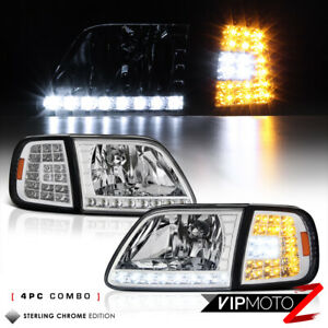 For 97 03 Ford F150 Expedition Chrome 3rd Gen Led Corner Signal Lamp Headlight