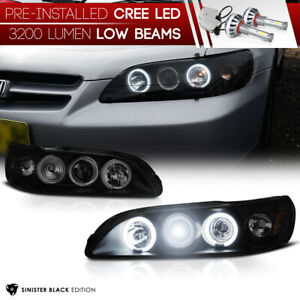 cree Led Low Beam Sinister Black 1998 2002 Honda Accord Coupe Sedan Headlights