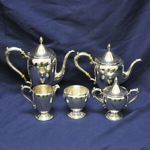 Beautiful Sterling Silver 5 Piece Coffee Teapot Set By Frank M Whiting Over