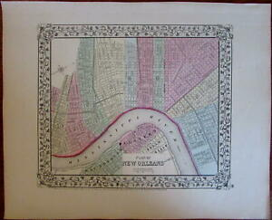New Orleans City Plan Louisiana 1867 Mitchell Urban Map Hand Colored Attractive