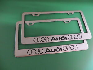 2 Audi Chrome Metal Polished License Plate Frame Screw Caps Stylell