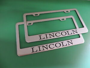 2 New Lincoln Stainless Steel License Plate Frame Screw Caps Style00