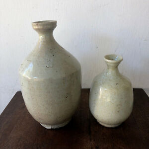 Pair Of 2 Antique Korean Crackle Glaze Celadon Pottery Glaze Jar Bottle Vase