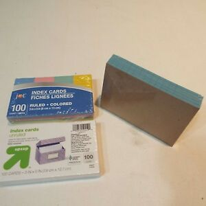 Lot Of 3 Packs Pads Index Cards Unruled Colored Ruled Free Shipping