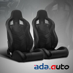 2x Reclinable Black Pvc Punching Leather Racing Seats Single Adjustor Slider