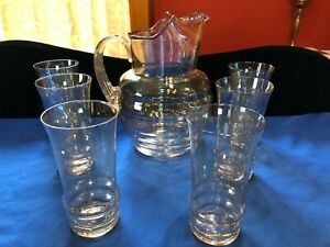 Early Blown Mold Dunbar Glass Pitcher And Tumblers