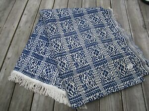 Early Antique Woven Indigo Blue White Coverlet Jacquard C1890 1900s Huge 110