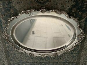 Antique Silver Plate Epns On Copper Is English Heavy Oval Tray 19 1 5