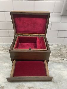 Antique Walnut Velvet Lined Collectors Jewelry Wood Box With Maker S Stamp