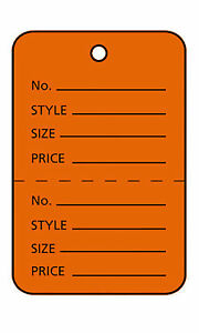 3000 Orange Perforated Tags Price Sale 1 X 1 Two Part Unstrung Tag Small