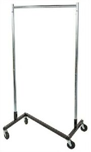 Clothing Clothes Rack Z truck Rolling Locking Casters 68 X 36 Single Rail