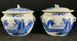 Estate Old House Chinese Antique Blue And White Porcelain Jar One Pair