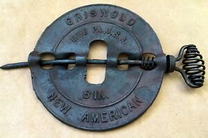 Antique Griswold Cast Iron Stove Pipe Flue Damper Cover Reversible Spindle 6