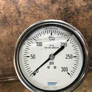 Wika 4 Pressure Gauge 0 300 Psi 5 8 Npt Oil Filled Steampunk 316ss