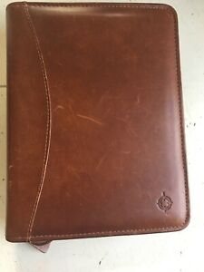 Vintage Franklin Quest Brown Leather Planner Binder 6 Ring Zipper