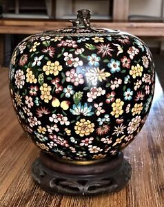 Antique Chinese Thousand Flowers Cloisonne Enamel Lidded Ginger Jar 6 5 Tall