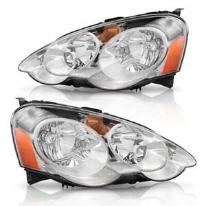 Headlights Assembly For 2002 2003 2004 Acura Rsx Dc5 Chrome Headlamps Left Right